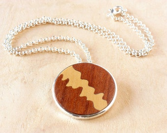 Brown wood pendant, Wood style pendant, Necklace unique wood, Boho wood necklace, Exotic wood jewelry, Natural pendant, Natural jewel
