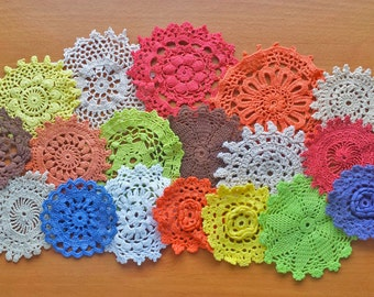 18 Hand Dyed Vintage Crochet Doilies, Small Craft Doilies Set, Assorted Doilies in Red, Orange, Yellow, Green, Blue, Brown, Beige and White