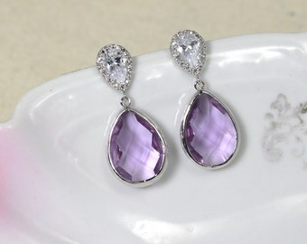 Lavender Drop Earrings, Lilac Wedding Bridal Jewelry, Purple Teardrop Earrings, Crystal Cubic Zirconia Bridesmaid Gift, Mothers Day Gift