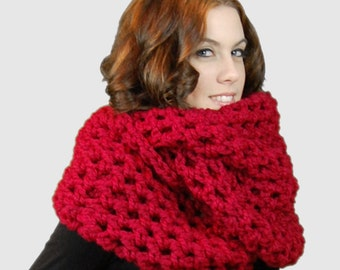 Chunky Infinity Scarf,  Cranberry Red Circle Scarf, Fashion Accessories