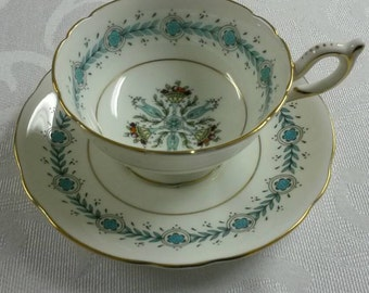 Coalport Tea Cup and Saucer; Hand Painted; Titled Geneva circa 1949-1959  -416