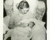 "Vintage Photo ""Feeding Karen"" Snapshot Photo Old Antique Photo Black & White Photograph Found Paper Ephemera Vernacular - 22"