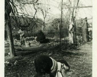 "Vintage Photo ""Baby Yoga"" Snapshot Old Antique Photo Black & White Photograph Found Paper Ephemera Vernacular - 66"