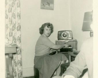 "Vintage Photo ""Listening to Rock-n-Roll"" Snapshot Antique Photo Old Black & White Photograph Found Paper Ephemera Vernacular - 74"