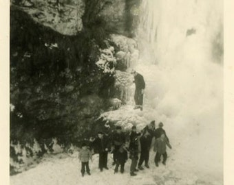 "Vintage Photo ""Icy Falls"" Waterfall Snapshot Photo Old Antique Photo Black & White Photograph Found Photo Paper Ephemera Vernacular - 161"