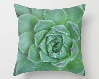 Succulent Pillow Cover, Sempervivum Succulent, Garden Pillowcase, Botanical Plant, Outdoor Pillow Cover