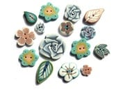 Teal BLUE Ecru Cream handmade buttons, DIY supply, set of 15 polymer clay flowers & leaves, artisan poetic mini button, set of small buttons