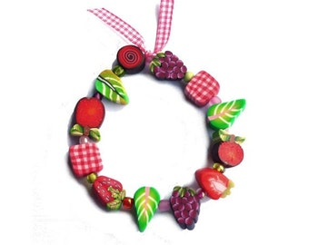 Flower girl bracelet FRUITY Child Bracelet, Fairy Girl Wedding gift red green pink Stretch bracelet, children jewelry gingham ribbon, Medium