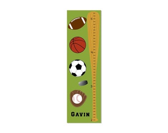 Personalized Growth Chart Children Canvas Sports