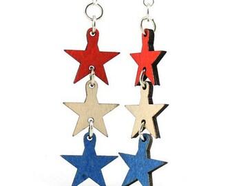 4th of July Star Earrings - Wooden Earrings