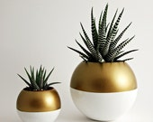 NEW Size - Sphere Pod Planter // Gold + White - Large