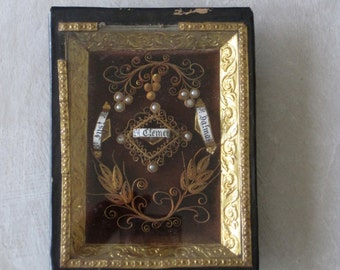 Antique French Religious Paperolle Reliquary Relics of  3 Saints, St Just, St Clement & St Dalmas
