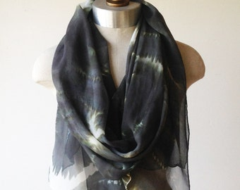 silk chiffon scarf, hand painted wrap, charcoal scarf, animal print