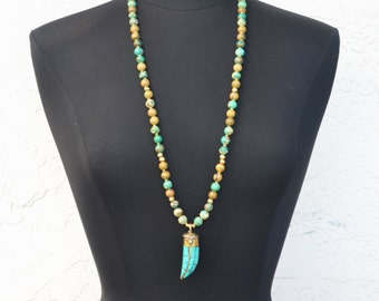 Tibetan Horn Necklace | Bohemian Necklace | Long Beaded Necklace | Tusk Pendant Necklace | Tibetan Horn |