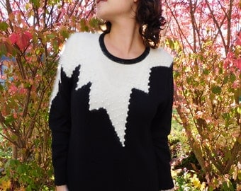 Vintage Avant-Garde Black And White Knit Sweater Dress with Angora And Pearls Holiday Dress Formal Dress