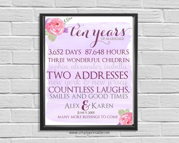 Anniversary Wall Print, Printable 10th Anniversary, Floral Watercolor Anniversary Gift, Days, Hours, Digital Wall Print