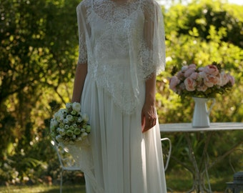Simple lace wrap bridal gown, boho wedding dress - made by your measurments, bishop sleeves