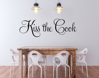 Kiss The Cook Kitchen Wall Decal Vinyl Lettering Kitchen Decor Vinyl Wall Words Chef Wall Art