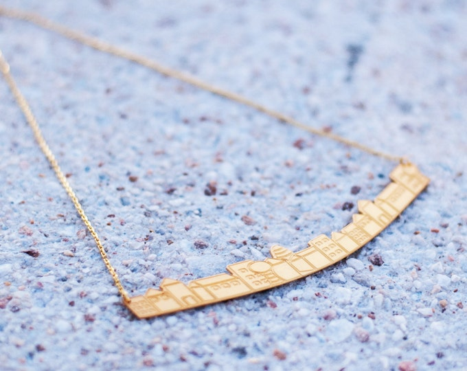 Little big town necklace Gold-plated bronze Minimal countryside nature Fresh urban design Statement Necklace Summer vibes Traveling Around