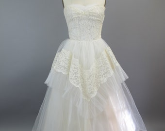 1950s White Lace Prom Wedding Cocktail Party Dress