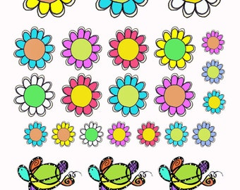Stickers; Flowers & Turtles; 54 count