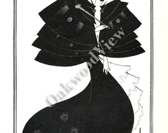 Salome Print by Aubrey Beardsley, Artist, Beautiful Woman, Vintage Art Nouveau 1984 Black & White Bookplate Art, FREE SHIPPING