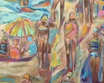 Beach Day 24x18 Original painting on canvas