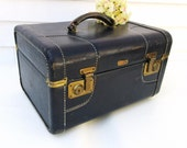 Antique Leather Bag, Train Case, Navy Blue Cosmetic Case, De Luxe Lincoln, Travel Makeup Bag with Mirror