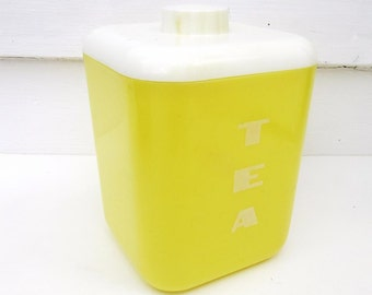 Vintage Plastic Canister   Tea Canister   Kitchen Canister   Lustro Ware Container   Yellow White