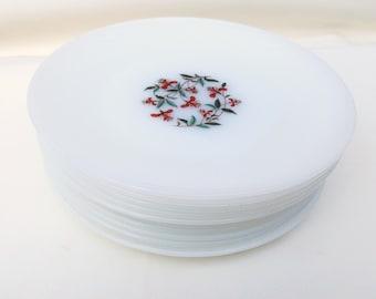 Vintage Glass Dinner Plates, Anchor Hocking Milk Glass Plates, Fire King Plates, Honeysuckle Pattern, Set of 10