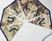 Personalized Map Bunting, Personalised Name Banner, Beige World Map Fabric, Map Bunting,  World map pennants. Fabric bunting