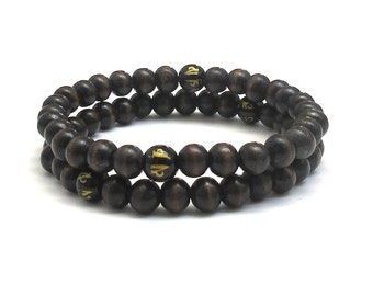 Men Wood Bracelet, Men Beaded Bracelet Mala Beads Buddhist Om Mani Mantra Yoga Men Inspirational Jewelry Worry Beads Healing Energy Recovery