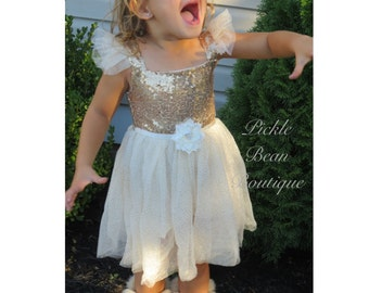 Gold Baby Dress, Gold Ivory Princess Dress, Flower Girl Dress, Gold Party Dress, 1st Birthday Dress, First Birthday Dress, Gold Tutu Dress