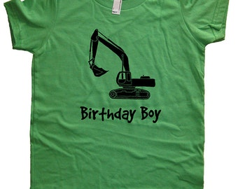 Birthday Shirt Digger Kids Construction Truck Birthday Boy Tee - Multiple Colors - Kids Tshirt Sizes 2T, 4T, 6, 8, 10, 12 - Gift Friendly
