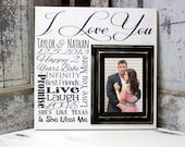 Wedding Gift Idea, Personalized Wedding Gift, Picture Frame with Wedding Date, Custom Anniversary Gift with Wedding Date, I love You Sign