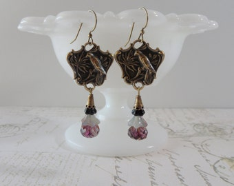 Retro Bird Dangle Earrings // Brass, Purple, Black