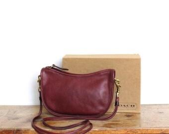 SALE Vintage Coach Purse // Swinger Bag Burgundy Bordeaux // Near MINT Coach Soft Leather Handbag with Box