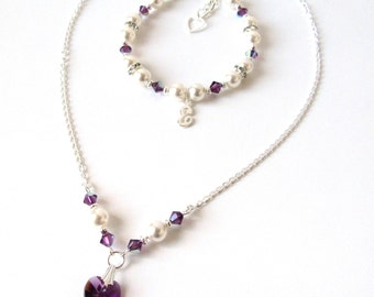 Childrens Crystal Necklace & Bracelet Set, Plum Amethyst Necklace Bracelet Set, Initial Charm Bracelet, Personalized Flower Girl Jewelry Set