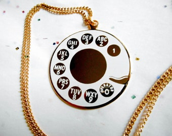 Telephone Dial Necklace, Vintage, Telephone Rotary Dial Necklace, white phone