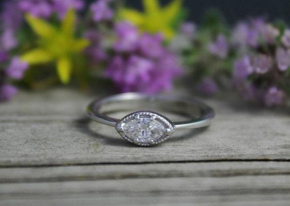14k White Gold Marquise Diamond Ring Vintage Inspired Ring