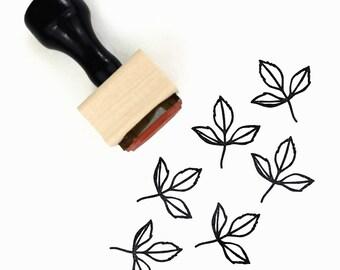 Rubber Stamp Spring Sprout Leaf - Natural Wedding DIY - Wood Mounted Stamp