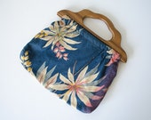 1940s vintage purse / wooden handle floral sewing bag