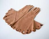 1940s vintage gloves / brown cotton gauntlet gloves / size 6 - 6.5