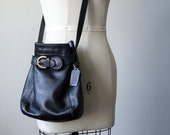 vintage Coach purse / black leather bucket bag