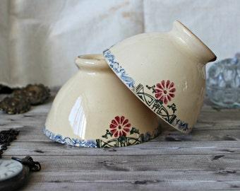French antiques set of 2 café au lait ironstone bowls 1910s Art Nouveau Art Déco transferware rustic cottage french country