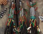 Banded Cowry Shell & Beads Tuareg Goat Leather Tassel, Boho Jewelry Making Pendant, Leather Tassel Fringe Keychain, Purse Charm, Beaded JuJu