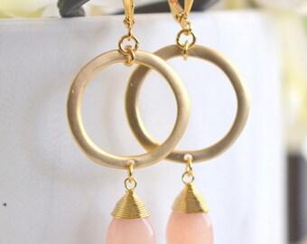 Gold Hoop and Peach Jade Dangle Earrings. Long Gold Dangle Earrings.  Geometric Earrings.  Modern Jewelry. Hoop Earrings. Gift for Her.