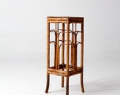 vintage bamboo table, rattan end table, plant stand