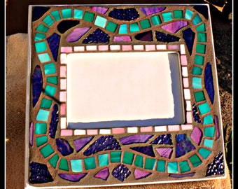 Stained Glass Picture Frame,  Mosaic Stained Glass,  Mosaic Picture Frame, Home Decor, Mosaic frame