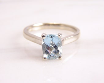 Cushion Cut Natural Aquamarine Engagement Ring 14k White Gold